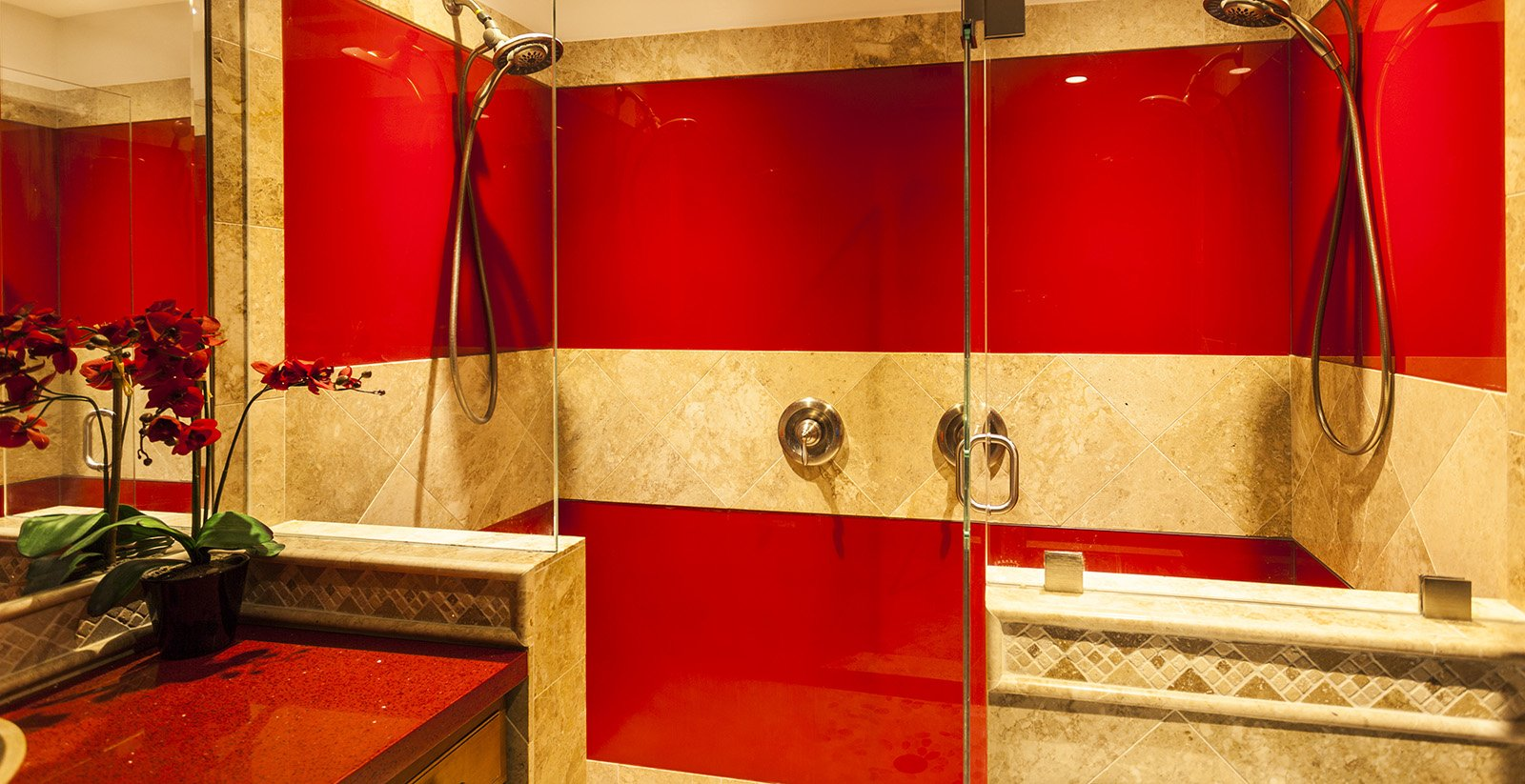 Red Painted Glass Shower Walls