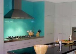 kitchen room scene colored glass paint
