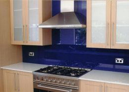 Deep Blue Glass Paint Glass Backsplash