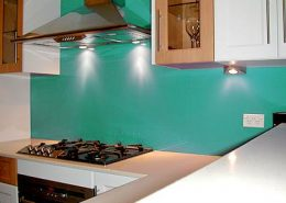 Light Blue Kitchen Coloed Glass Paint