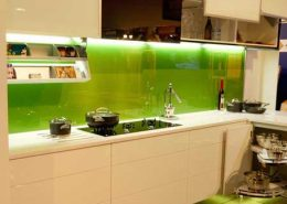 Lime Green Back Painted Coloed Glass Backsplash