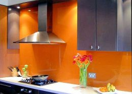 Orange Kitchen Range Glass Backsplash