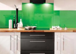 Organic Green Back Painted Glass Paint Backsplash