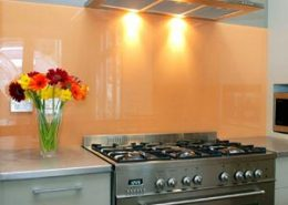 Peach Colored Glass Paint Backsplash