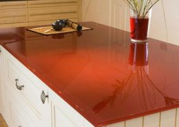 Red Glass Paint Colored Counter Top