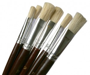 Glass paint and paint brushes
