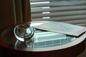 Glass furniture and decorating with glass